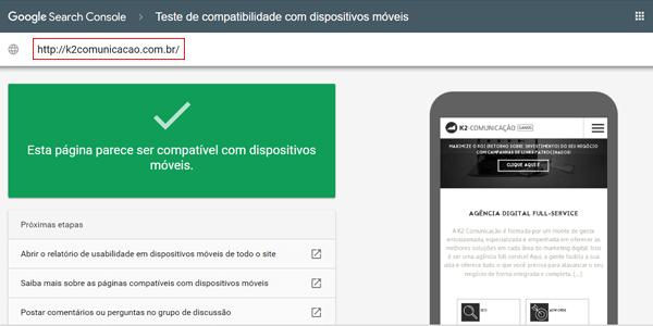 Teste resultado para site responsivo no Google