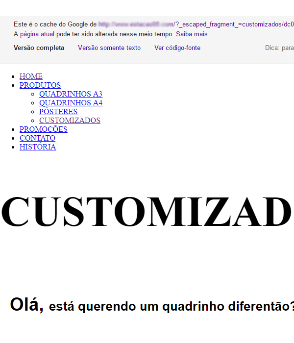 Exemplo de indexação site Wix